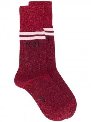 Носки с логотипом и блестками Nº21. Цвет: красный