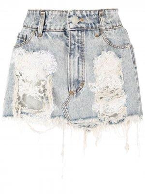 Джинсовая юбка мини с эффектом потертости Almaz. Цвет: синий