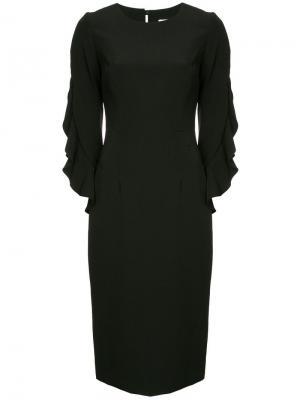 Платье миди с оборками на рукавах Milly. Цвет: черный