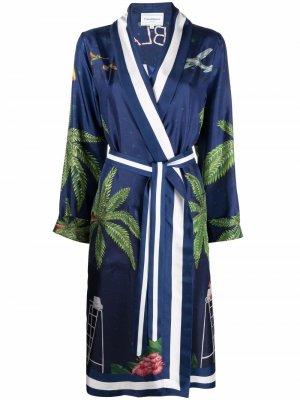 Платье-халат с поясом Casablanca. Цвет: синий