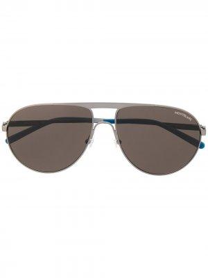 Солнцезащитные MB0119S очки-авиаторы Montblanc. Цвет: серебристый