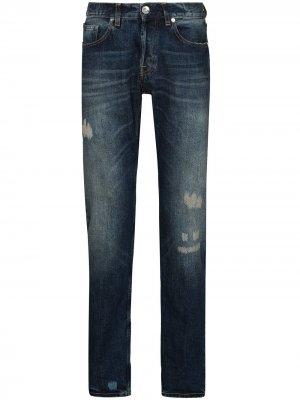 Прямые джинсы с эффектом потертости Eleventy. Цвет: синий