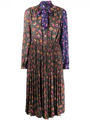 Плиссированное платье с цветочным принтом Junya Watanabe. Цвет: зеленый