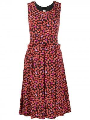 Pleated lip-print dress Marni. Цвет: черный