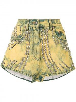 Джинсовые шорты с вышивкой и заклепками Gucci Pre-Owned. Цвет: желтый