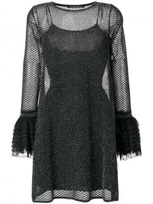 Расклешенное платье с оборками Antonino Valenti. Цвет: черный