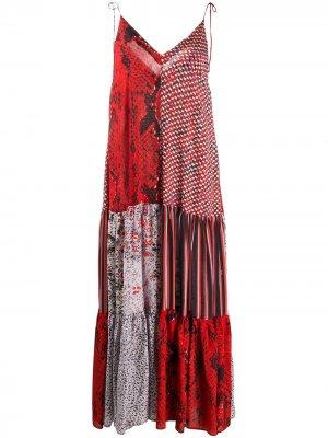 Платье в технике пэчворк со змеиным принтом Lala Berlin. Цвет: красный