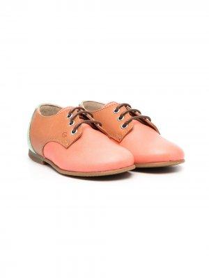 Двухцветные туфли на шнуровке Gallucci Kids. Цвет: коричневый