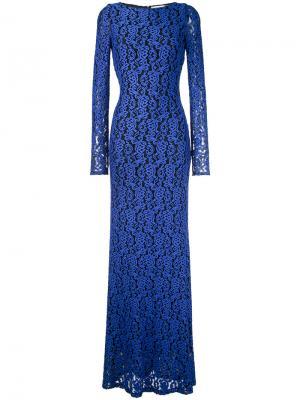 Расклешенное длинное платье Maryanna Alice+Olivia. Цвет: синий
