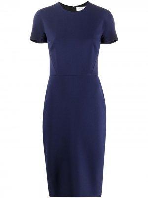 Креповое платье-трапеция Victoria Beckham. Цвет: синий