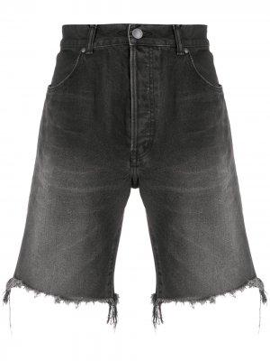 Джинсовые шорты с бахромой John Elliott. Цвет: черный