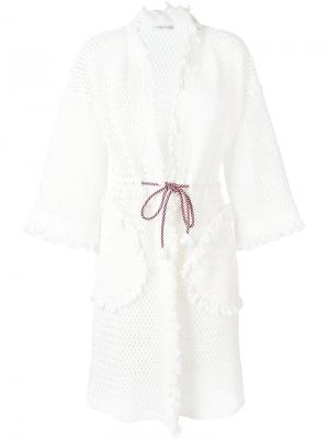 Вязаное пальто-кардиган с бахромой Tsumori Chisato. Цвет: белый