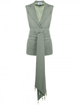 Жилет строгого кроя с поясом Atu Body Couture. Цвет: зеленый