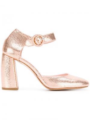 Туфли-лодочки с ремешком пряжкой Anna F.. Цвет: металлик