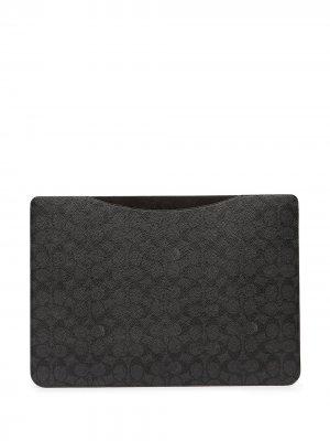 Чехол для ноутбука с монограммой Coach. Цвет: серый