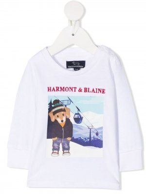 Футболка с принтом Ski Dog Harmont & Blaine Junior. Цвет: белый