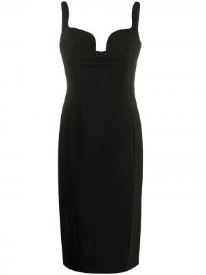 Платье миди с боковым разрезом Mugler. Цвет: черный