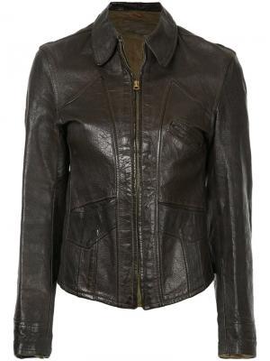 Кожаная куртка Good Design 1940-х годов Fake Alpha Vintage. Цвет: коричневый