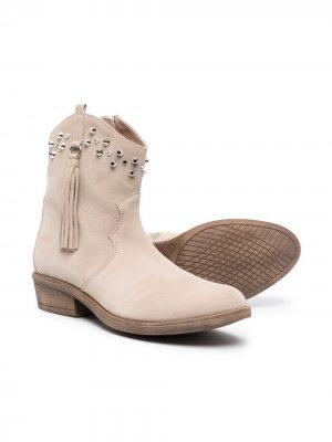 Ковбойские ботинки с заклепками TWINSET Kids. Цвет: нейтральные цвета