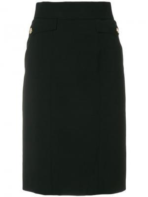 Юбка карандаш с карманами Chanel Vintage. Цвет: черный