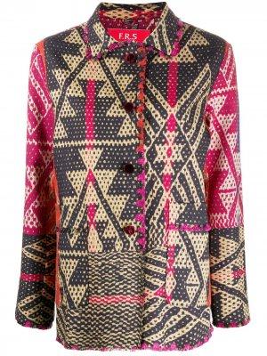Куртка-рубашка с геометричным принтом F.R.S For Restless Sleepers. Цвет: красный
