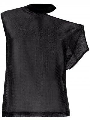 Сетчатая футболка асимметричного кроя RtA. Цвет: черный
