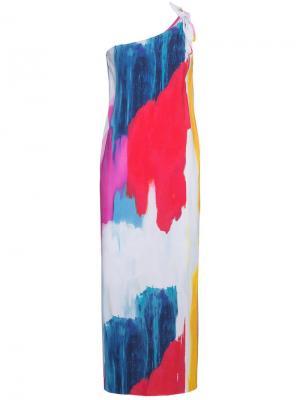 Платье миди на одно плечо с абстрактным принтом Clara Mara Hoffman. Цвет: розовый