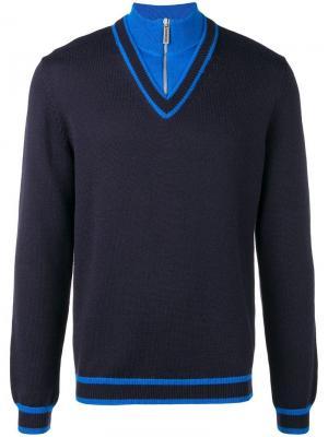 Panelled quarter zip sweater Dirk Bikkembergs. Цвет: синий