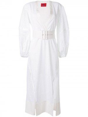 Платье миди с поясом Solace London. Цвет: белый