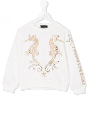 Толстовка с изображением морских коньков Young Versace. Цвет: белый