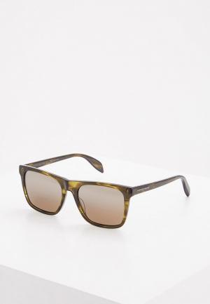 Очки солнцезащитные Alexander McQueen. Цвет: хаки