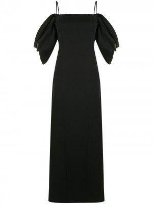 Платье с пышными рукавами и драпировкой Carolina Herrera. Цвет: черный