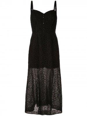 Кружевное платье макси Olivier Theyskens. Цвет: черный
