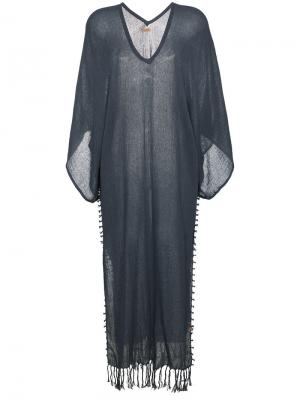 Пляжное платье-кимоно с бахромой Caravana. Цвет: синий