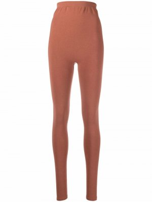 Extra high-waist leggings Baserange. Цвет: коричневый