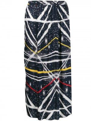 Плиссированная юбка с абстрактным принтом Ultràchic. Цвет: синий