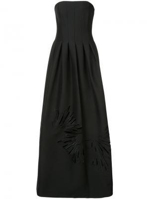 Вечернее платье с вышивкой Halston Heritage. Цвет: чёрный
