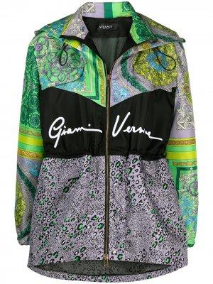Куртка с капюшоном и принтом Versace. Цвет: фиолетовый