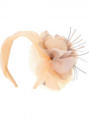 Ободок Elina с цветочной аппликацией Maison Michel. Цвет: оранжевый