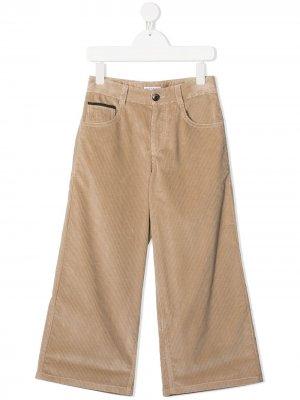 Широкие брюки Brunello Cucinelli Kids. Цвет: нейтральные цвета