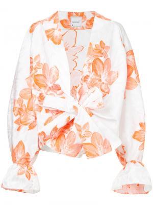 Рубашка-кимоно с цветочным принтом Bambah. Цвет: белый