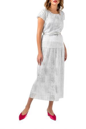 Комплект: блуза, юбка Caterina Leman. Цвет: серебряный