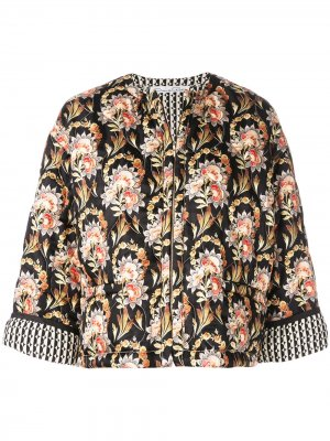 Пиджак с цветочным принтом Oscar de la Renta. Цвет: черный
