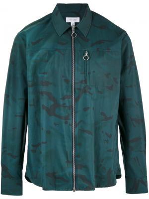Рубашка на молнии с камуфляжным принтом Soulland. Цвет: зелёный