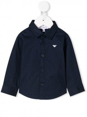 Рубашка с логотипом Emporio Armani Kids. Цвет: синий