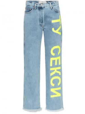 Широкие джинсы с принтом Natasha Zinko. Цвет: синий