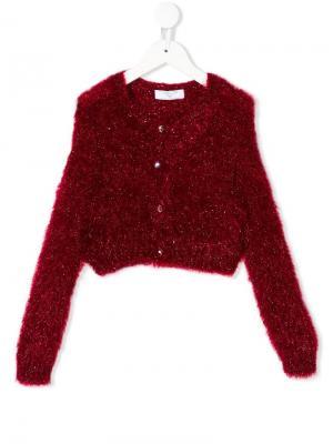 Embellished button cardigan Monnalisa. Цвет: красный