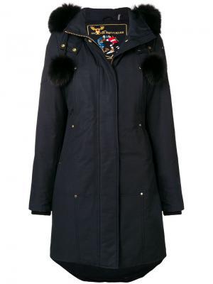 Двубортное пуховое пальто Moose Knuckles. Цвет: синий