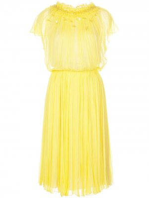 Плиссированное платье с короткими рукавами Jason Wu Collection. Цвет: желтый