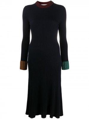 Платье-джемпер в рубчик LANVIN. Цвет: синий